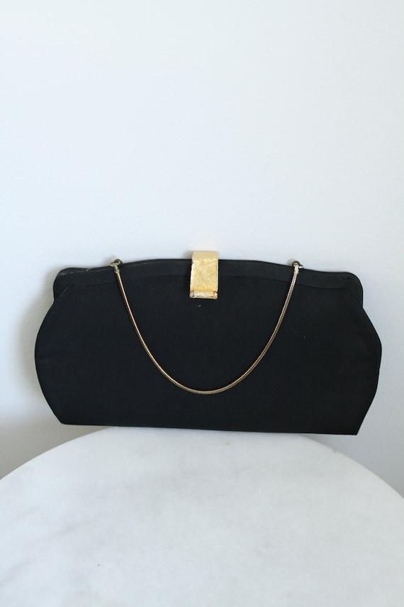 1950s black cocktail clutch // 1950s evening clutch // vintage purse