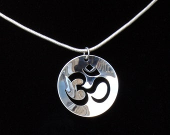 Silver om necklace sterling silver om necklace om pendant silver om necklace sterling silver om pendant yoga jewelry ohm circle pendant aloadofball Image collections