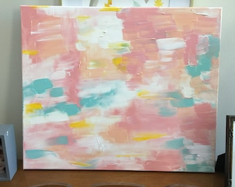 Blush+mint abstract painting || nursery decor || home decor