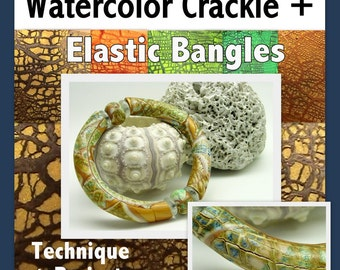 Polymer Clay Tutorial - Crackled Watercolor Bamboo Bracelets - Digital PDF File - Instant Download