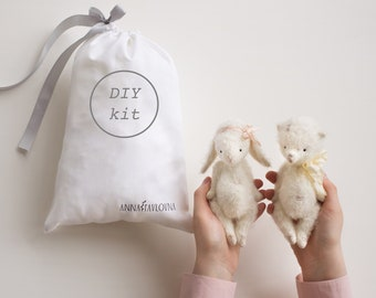 2-in-1 Mohair Toys Teddy Bear And Bunny Rabbit 6 Inches DIY Kit Stuffed Animals Sewing Kit Soft Toys Craft Kit Crafter Gift Ready To Ship