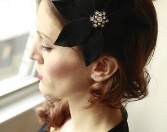 Classic Black Velour Flower Fascinator  Cocktail Hat