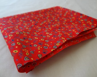 Vintage Fabric. Fire Engine Red. Eye-popping Ditsy Print