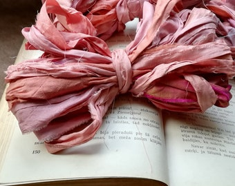Recycled silk ribbon 10m Sari silk ribbon Peach pink sari silk