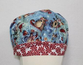 Christmas scrub cap, Woman scrub cap, Ladies scrub caps, Holiday scrub caps, scrub hat, womens scrub cap, snowmen, red, white, blue, nurse