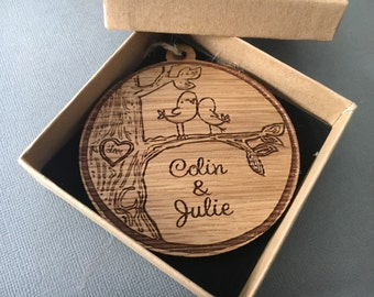 Love tree decoration - anniversary gift - wooden engraved tree dec - our first christmas personalised