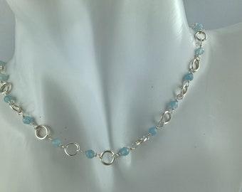 Choker necklace handmade Silver 925 and faceted genuine semi precious aquamarine stones