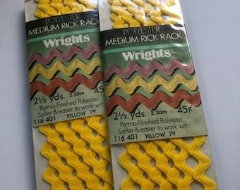 vintage rick rack yellow, bright yellow rick rack, ric rac, dated 1978