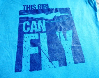 """WOMEN'S SWIMMING RELAXED Fit T-shirt """"Can Fly"""" Short Sleeve Screen Printed Blue Glitter Cotton Tee"""