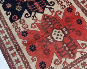"5'10""x3'5"" Red Blue and Cream Vintage Turkish Rug"