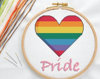 Gay Pride Flag Heart Cross Stitch Pattern