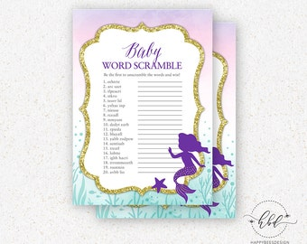 Little Mermaid Baby Shower Word Scramble Game - Digital Baby Shower Word Scramble Game - Instant Download Baby Shower Game - M001