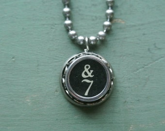 """Typewriter Number 7 Necklace- Vintage, Recycled UPcycled, Authentic, Number """"7"""" Typewriter Key, 2-9 and A-Z available By UPcycled Works!!"""