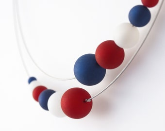 necklace blue white red polaris statement independence day usa