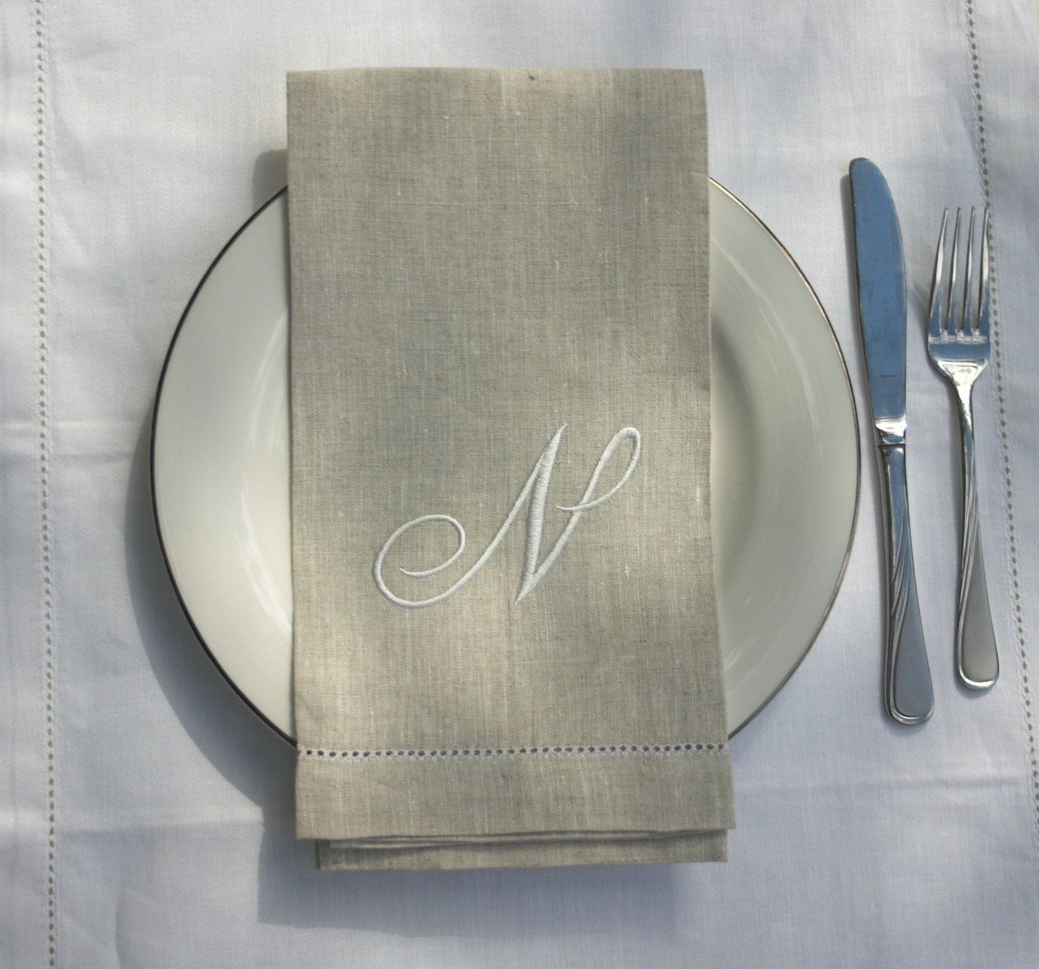 Guest Towels Linen: Embroidered Monogrammed Linen Guest Towels 100 % Natural