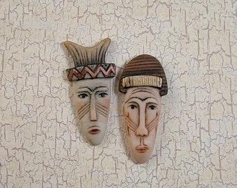 Tribal Mask Embellishment set of 2