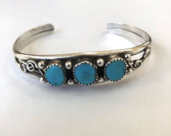 Vintage Sterling Silver Turquoise Navajo Cuff Bracelet 17 Gr.