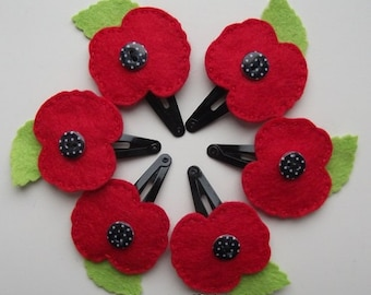 Felt Poppy Hair Clip/Hair Accessory/Snap Clip.Red Felt Poppy.Poppy Hair Accessory.Stocking Filler/Stuffer.Teacher Gift.Party Favour.