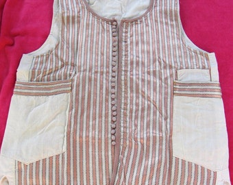 Waistcoat in Pink and Cream Strip,e Satin Waistcoat with Small Buttons and Pockets with a Cream cotton back, circa 1960's.