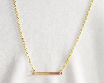 Simple SHINY GOLD BAR Necklace * 14k Gold Filled * Delicate * Dainty * Minimal * Perfect for Layering * Layered Necklace Trend * Trendy