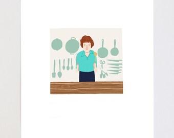 Julia Child Portrait Illustration Art Print