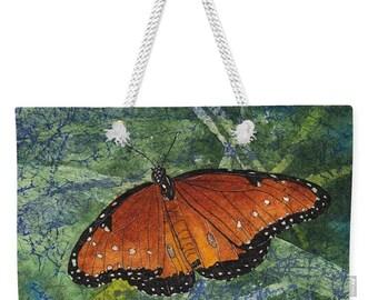 Mother's Day Gift Weekender Tote  Watercolor Batik Orange Queen Butterfly