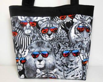 Safari Studs Large Tote Bag, Safari Animal Fabric Tote Bag, Safari Tote Bag
