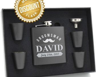 Personalized Leather Flask Set, Groomsmen Flask Set, Personalized Flask for Men, Groomsmen Gift, Custom Flask, Monogram Flask, Hip Flask