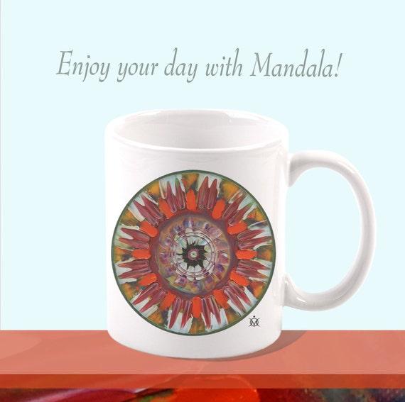 Mandala Mug Ceramic Mug Unique Gift Coffee Mug Print Art Original ceramic coffee tea mug