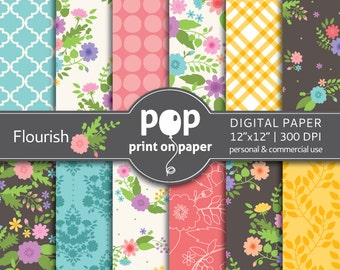 Floral Digital Paper FLOURISH colorful florals stylish flowers, morrocan, plaid patterns, romantic coral teal, spring flowers, floral design