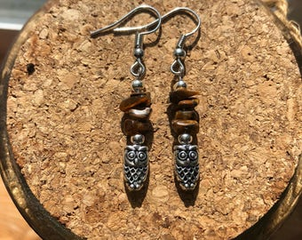 Tigers eye and Owl charm