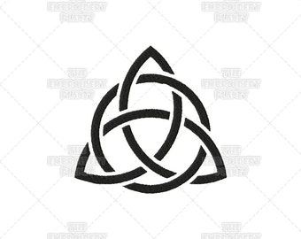 Woven Solid Triquetra Circle Stencil Effect Celtic Spiritual Religious Sacred Symbol Machine Embroidery Pattern Design