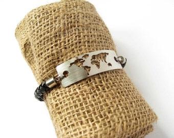 Mens Bracelet / Travel Bracelet / Metal Bracelet / Leather Bracelet / Wanderlust Bracelet / World Map Bracelet / Travel Gift /Travel Jewelry