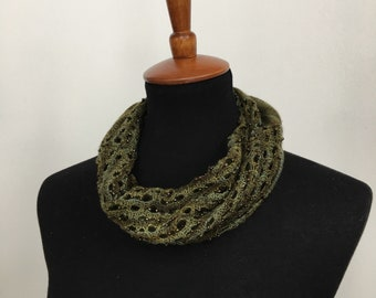 Borealis Beaded Cowl / Scarf, Infinity Cowl Scarf, Merino Wool Cowl Scarf, Gift for Her, Hand Knit Scarf