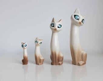 Vintage 50's Hornsea Siamese Cats Marion Campbell Set of 4