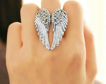 White angel wings ring with rhinestones luck Charm Angel Guardian Earrings