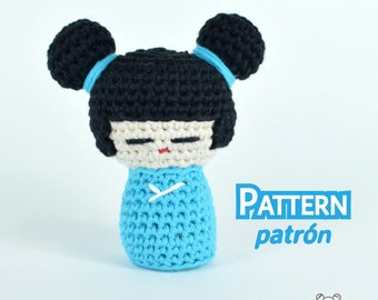 Kokeshi, muñecas japonesas, patrón amigurumi, patrón muñeca, patrón crochet, muñeca amigurumi, muñeca crochet, amigurumi patrones