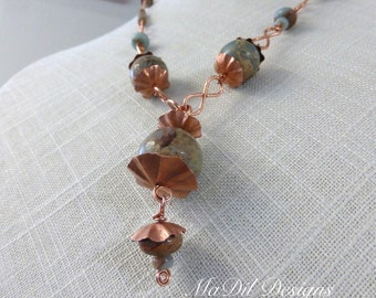 African Opal Copper Necklace Hand Forged Ruffled Discs Hand Made Chain Infinity Links and Hand Made Hook Clasp Jasper Beads Pendant