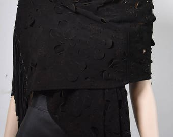 Genuine Leather Suede Scarf with 3D Rose detailing and Fringes in Black - Large