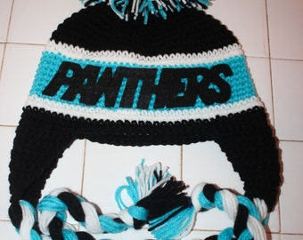 Panthers Hat/ Carolina Panthers Hat/ Crocheted Panthers Hat/ football hat/ made to order in size infant to Adult