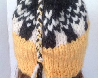 Hand Knit Beanie Slouch Designer Fashion Yellow Back White Braided Fringe Hip Snow Winter Ski