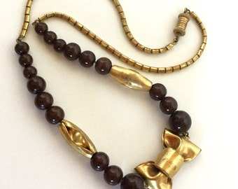 Vintage Brass Bow Necklace with Brown Stones - Rich Espresso Round Beads with Gold Bow, Accents, Chain - Barrel Clasp - 40s Fall Earthtones
