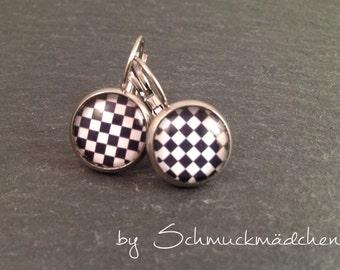 Earrings earrings stainless steel Chess Board