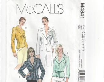 Fitted Unlined Jackets Princess Seams Tie Snap Button Closure Collar Variations McCalls 4841 Size 10-12-14-16 Bust 32 1/2-34-36-38 Unused