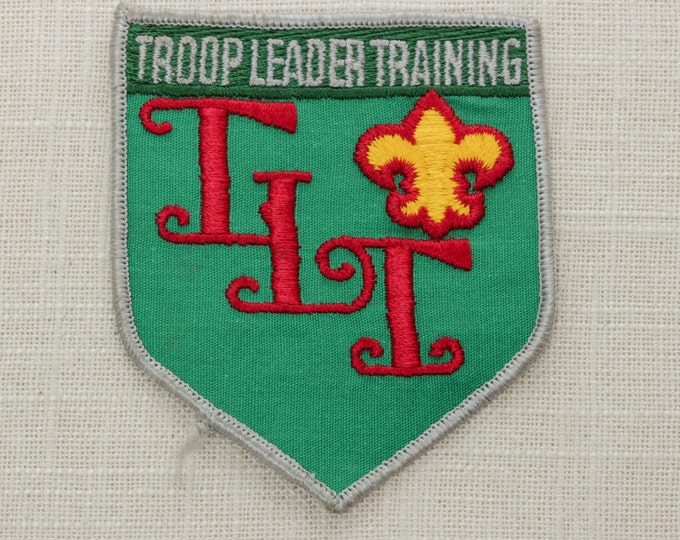 Troop Leader Training Vintage Sew On Patch - Green Grey Red Yellow - Boy Scouts of America - Shield Fleur De Lis - TLT