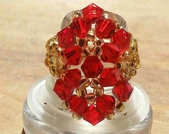 Crystal Beaded Ring By Dlacejewelrydesigns