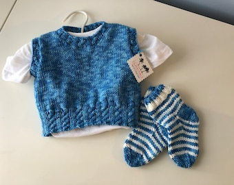 Little Boys Knit Vest with Matching Socks