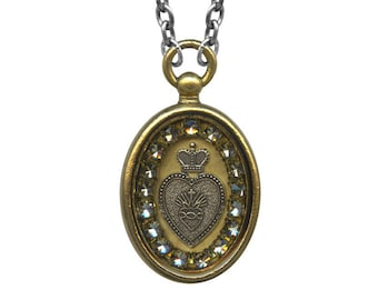 Crystal Sacred Heart Reliquary Box Necklace ROB21-S