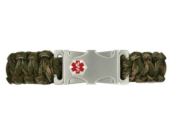Divoti Custom Engraved 316L Stainless Paracord Medical ID – Dual-side Release ID Buckle -Camo -Red -12951RE