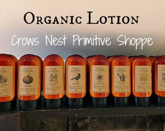Certified Organic Lotion includes jojoba oil, aloe vera, shea butter, arnica plus organic herbs in 4 ounce bottle